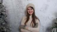 happy beautiful girl smiling in winter clothes