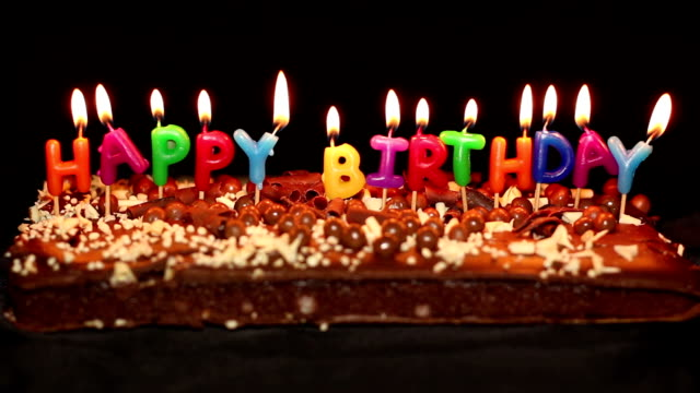 Happy Birthday Cake And Candles Stock Footage Video