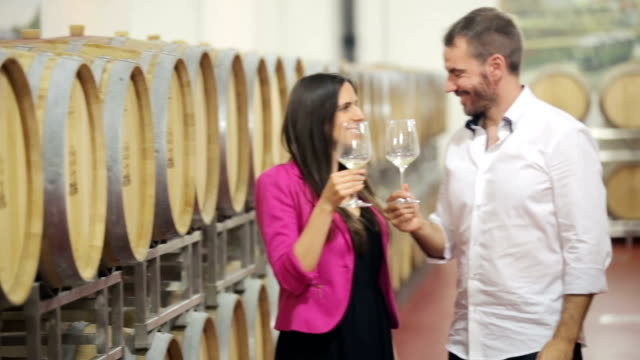Happy couple drinking white wine in vine cellar