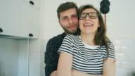 Happy couple portrait in slow motion.