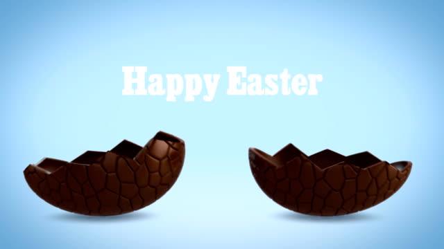 Happy Easter - Chocolate egg cracking, blue BG