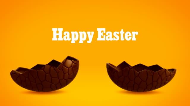 Happy Easter - Chocolate egg cracking, orange BG
