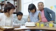 Happy Family Cutting Birthday Cake