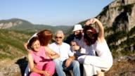Happy family on the mountain