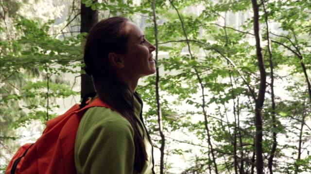 Glücklich Weibchen Wandern allein im Wald auf sonnigen Wetter