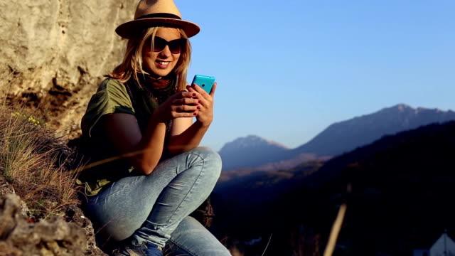 Happy girl using roaming, sending message