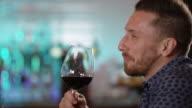 Happy Handsome Man Drink Wine 4K slow motion
