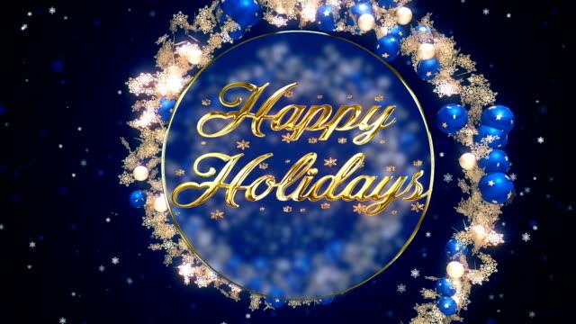 Happy Holidays blauwe ornamenten