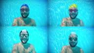 Happy man underwater composite video
