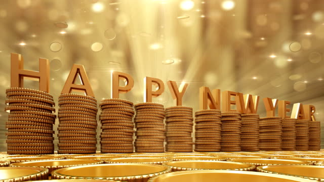 Happy New Year Gold coins