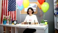 Happy Office Assistant Celebrating Birthday