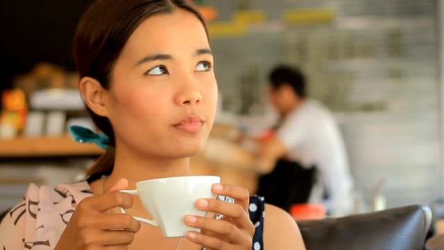 Happy Pensive Woman Drinking Coffee
