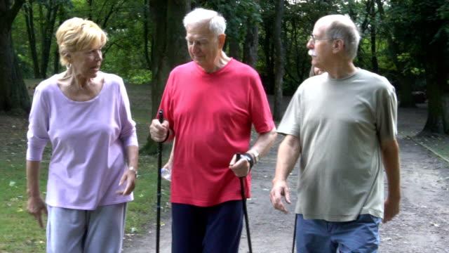 Glücklich Senioren Freunde halten Wanderstöcke bei einem Spaziergang im park