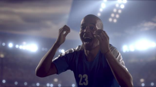 Glücklich soccer player