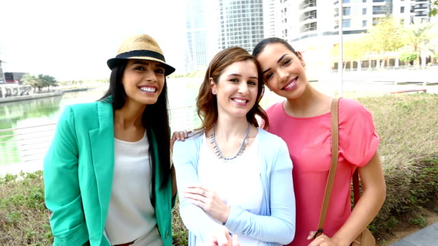 Happy Young girls take selfie in Dubai