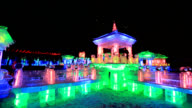 Harbin Ice and Snow Sculpture Festival with colorful lights at night