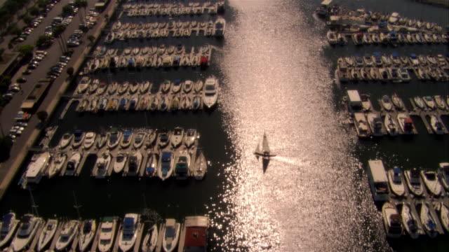 AERIAL harbor and marina, Marina del Rey, California, USA