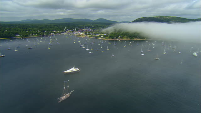 AERIAL, Harbor and town / Camden, Maine