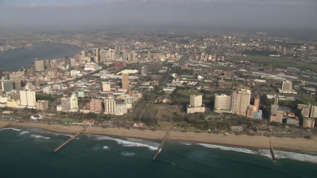 SLO MO AERIAL Harbor and view of Durban, Kwazulu Natal, South Africa