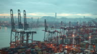 WS HA Harbor with cargo containers / Hong Kong, China
