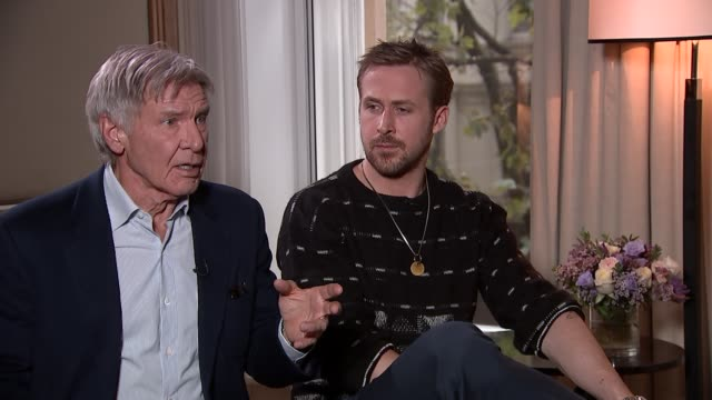Harrison Ford and Ryan Gosling interview Actors Harrison Ford and Ryan Gosling interview SOT Ryan Gosling on pinching himself doing 'Blade Runner'