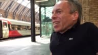 Harry Potter actor Warwick Davis who plays Professor Flitwick in the films gives an interview at London King's Cross where a large crowd has gathered...
