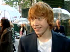 'Harry Potter and the Order of the Phoenix' Interviews with cast Rupert Grint interview SOT The movie is really dark / Scary creatures / A lot more...