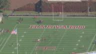 AERIAL Harvard Stadium with football training underway / Boston, Massachusetts, United States