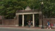 WS Harvard University gate off Massachusetts Avenue / Cambridge, Massachusetts, USA