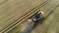 Harvester on field from above