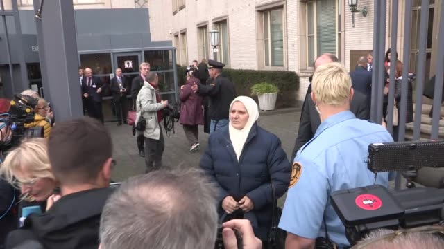 Hatidza Mehmedovic president of the Mothers of Srebrenica Association speaks to the media outside a court following former Bosnian Serb commander...