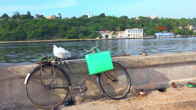 Havana, Cuba: 28' Chinese bicycle in the Malecon wall.