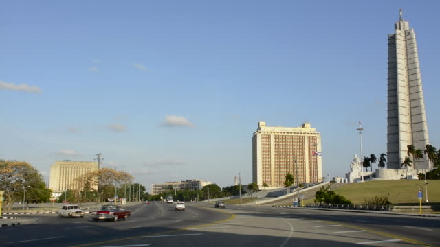 Havana Cuba famous Revolution Square and the Jose Marti Monument with traffic