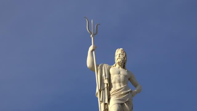 Havana, Cuba: Neptune white marble statue in the capital city harbor