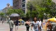 Havana Cuba Prado City Walk in center with art for sale and locals walking