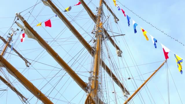 Havana, Cuba: Tilt down the mast of a sail ship on a blue clear sky day