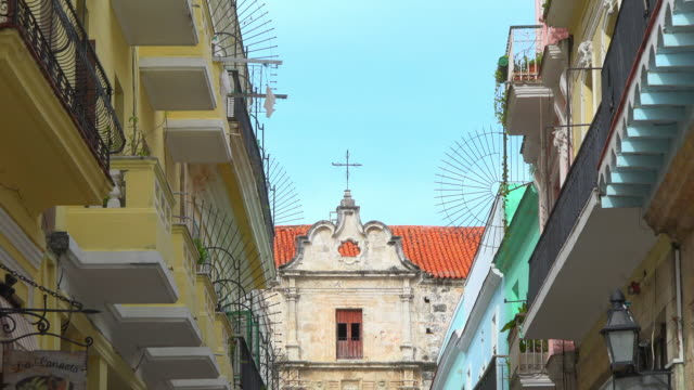 Havana, Cuba: Zoom of old stone wall church in the Unesco World Heritage Site