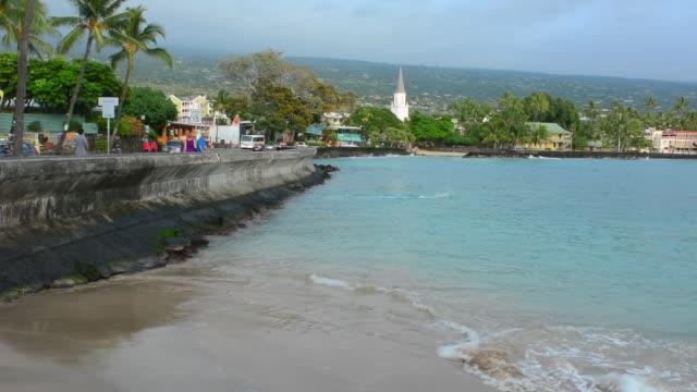 Hawaii Big Island Kailua-Kona downtown water and the Old Church Mokuaikaua