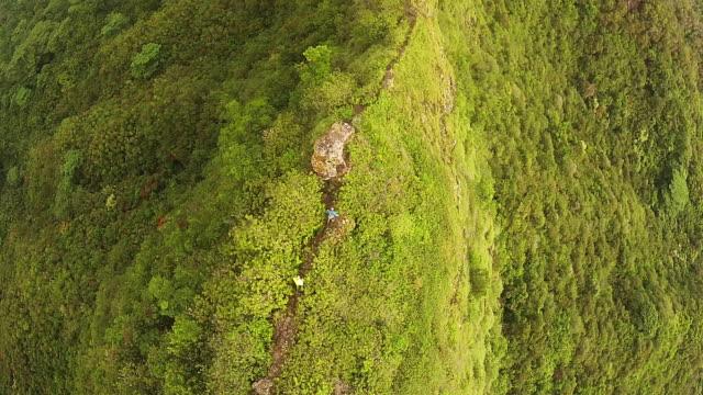 Hawaii hiking lifestyle aerial.