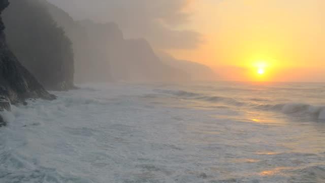 Hawaiian Ocean Waves UAV drone aerial shot