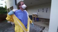 Hazmat suit training at a mock Ebola Treatment Unit at the Centers for Disease Control and Prevention facility in Anniston Alabama on October 15 Wide...