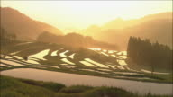 Hazy golden sunlight illuminates rice paddies with silhouetted mountains in background