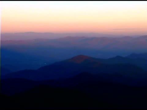 Hazy mountains at dawn