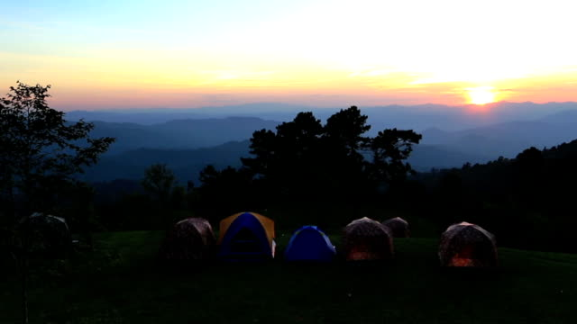 Hd: Tent on camping place with sunset