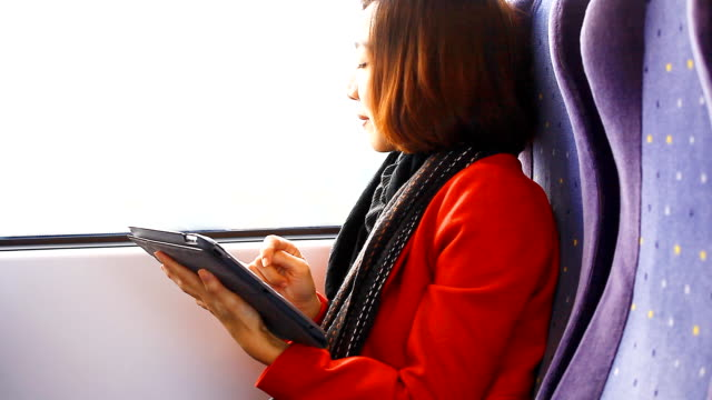 HD:Asian woman play tablet on the train.