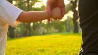 HD: Baby boy holding Mutter hand und Laufen durch den park.
