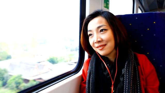 HD:Beautiful asian women travel by train.