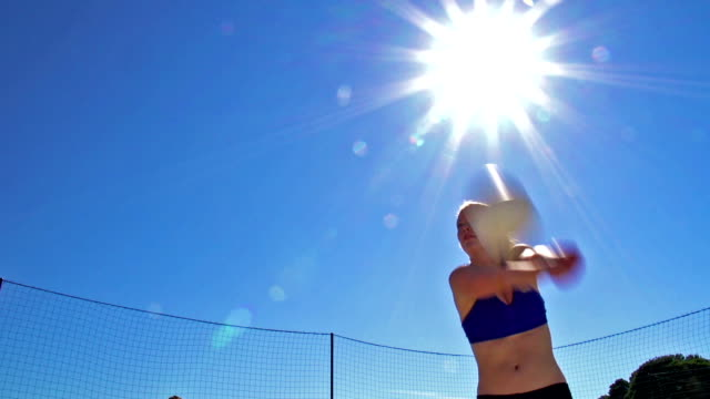 HD:Beautiful Young Teenager Practicing Volleyball