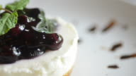 HD:Blueberry cheese cake with serving and cutting cake