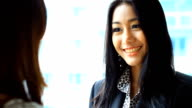 HD:Businesswomen presenting her idea to customer..